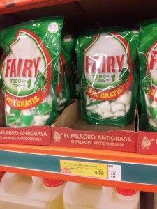 Capsulas de fairy de 40 unidades con sus precios
